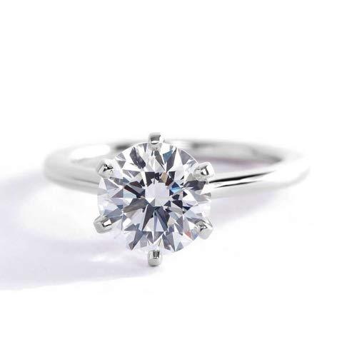 Anillo de compromiso de platino con diamante solitario de corte redondo pequeño SI2 F de 1,50 quilates