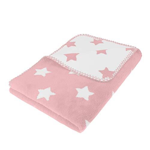 kids&me kuschelige Babydecke aus Bio-Baumwolle - Made in Germany - ÖKO-TEX zertifiziert - rosa Schmusedecke für Babys Größe: 100 x 70 cm