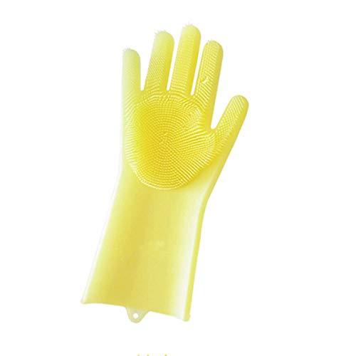 Guantes de limpieza de goma reutilizables de silicona para limpieza de alimentos, esponja de limpieza de platos, cepillos mágicos de silicona, mano derecha amarilla,