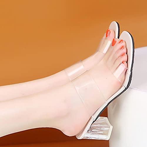 JUSTMAE Zapatillas de Tacones Transparentes, Sandalias de Mujer, Zapatos de Verano, Zapatos de tacón Alto de PVC Transparente para Mujer, Sandalias de Fiesta de Boda cómodas para Mujer