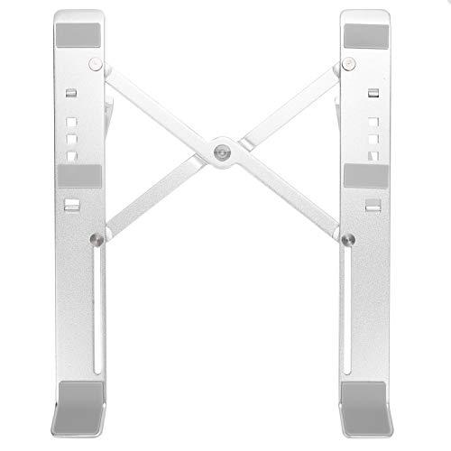 Deryang Soporte para computadora portátil, Soporte ergonómico para computadora portátil, aleación de Aluminio portátil, fácil observación para computadora portátil casera(Silver)