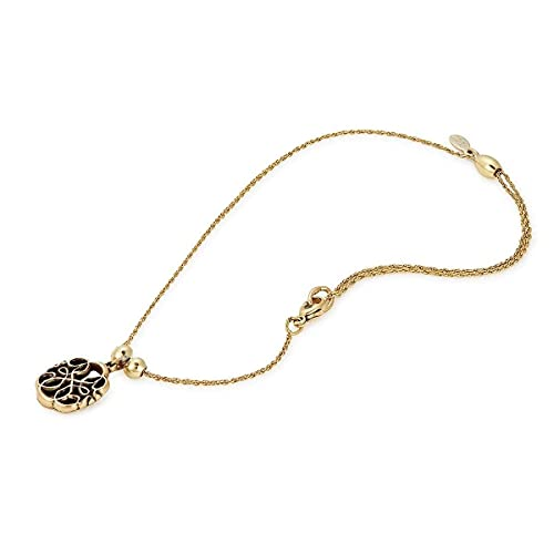 Alex and Ani Path of Symbols Adjustable Anklet for Women, Path of Life Charm, Rafaelian Gold Finish, 11.5 in