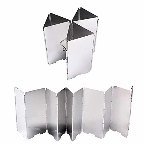 NAxin Estufa de leña Plegable Pantalla Viento,2 Piezas Aluminio De Aleación Viento Pantallas Parabrisas Portátil Estufa For Camping Cocina Cocina Estufa De Gas