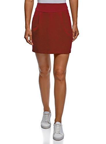 oodji Ultra Mujer Falda de Punto con Cremallera, Rojo, ES 42 / L