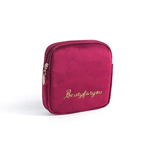 El Paquete de compresa Sanitaria acomodar la Bolsa de Almacenamiento portátil de la Felpa de la Almohadilla de Telas tía servilleta Bolsa de Transporte Embrague (Color : Claret)