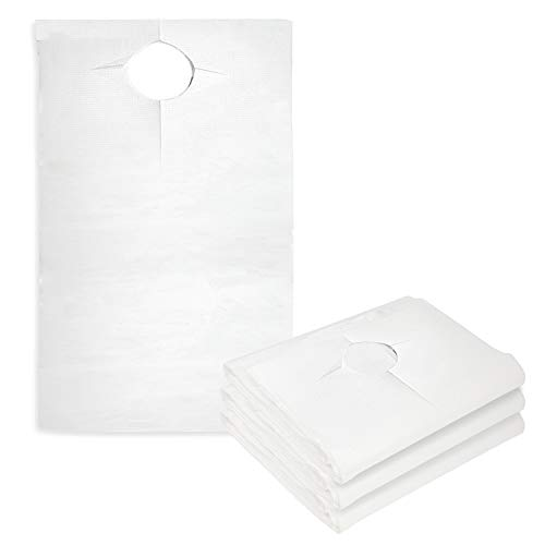 Overhead Disposable Adult Bibs 100 Pack - Absorbent Tissue Front, Water Resistant