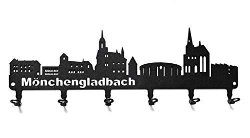 steelprint.de Schlüsselbrett/Hakenleiste * Skyline Mönchengladbach * - Schlüsselboard Nordrhein-Westfalen, Schlüsselleiste, Metall - 6 Haken