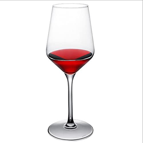FEANG Juego de 6 copas de vino sopladas a mano, vasos de vino de cristal con tazón grande y tallo largo, elegantes copas de vino con tallo para bodas y copas de champán