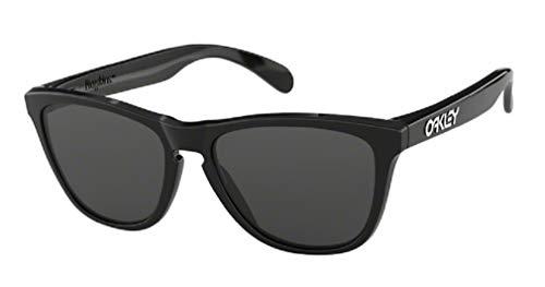 Oakley Frogskins OO9013 24-306 55M Polished Black/ Gray Sunglasses for Men For Women+BUNDLE with Oakley Accessory Leash Kit
