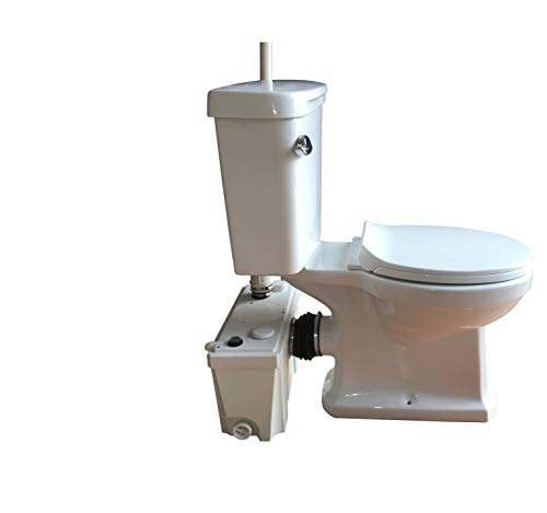 Sanimove 500W Macerator Pump Toilet Three Piece Round Bowl Toilet with Macerating Pump Macerating Upflush Toilet Kit Macerating Toilet (500w)
