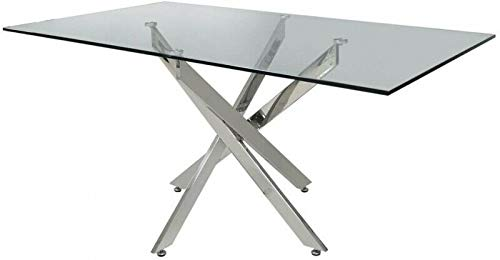 H Range Pompeii Italian Stylish Square Clear Glass Chrome Dining Table & 6 Black Grey White Chairs (Table only (No Chairs))