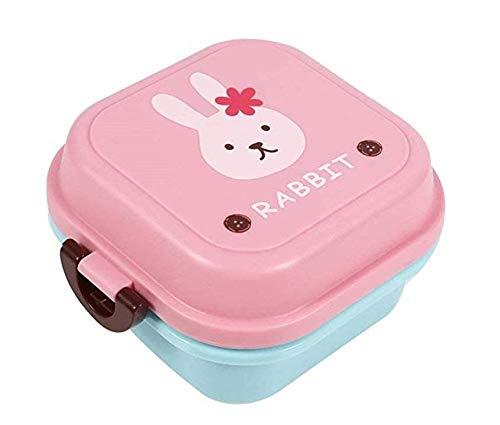 Lsv-8 Caja de almuerzo doble de dibujos animados para niños Kindergarten Office Snack Box portátil para la escuela, senderismo y picnic