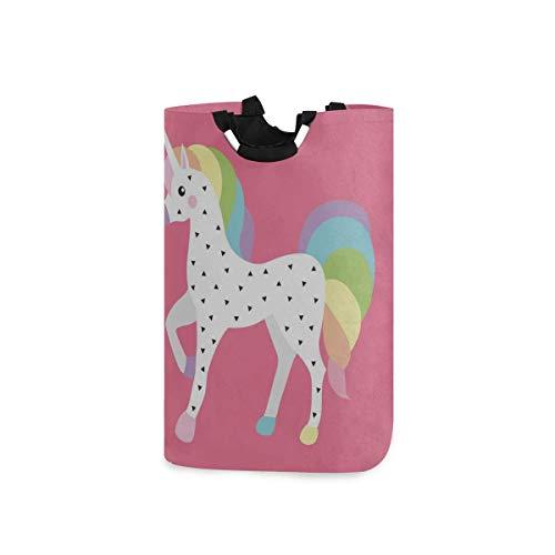 Cesto de lavandería con diseño de unicornio de dibujos animados para niños y bebés, cesto de ropa sucia para hombres, 11 x 12,6 x 22,7 pulgadas, plegable, tela Oxford, ropa sucia, organizador de jugue