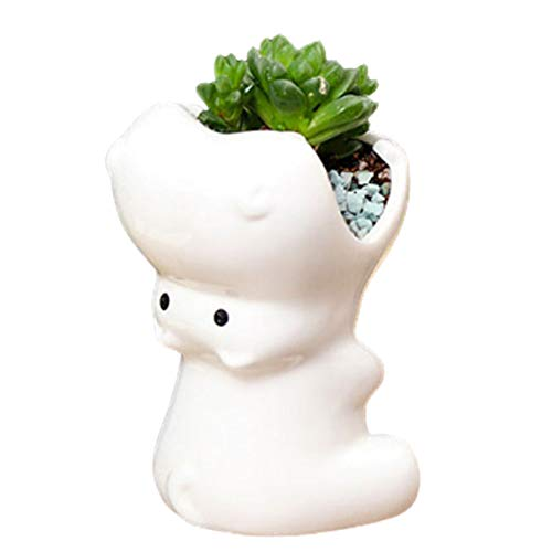MONMOB Nordic Style Hippo Shape Ceramic Pen Cup Pen Holder Hippo Pencil Holder Planter Pot Succulent Pot Home Office Room Decor(White)
