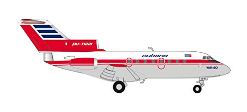 Herpa- Cubana de Aviacion Yakovlev Yak-40, Miniatur: Wings/Flugzeug Zum Sammeln Yak-40-Figura alas y avión, Multicolor (559775)
