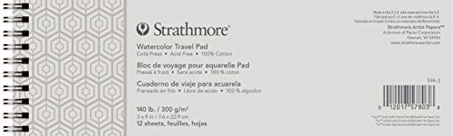 Strathmore 500 Series Watercolor Travel Pad, Wirebound, Cold Press, 3' x 9', 12 Sheets, White