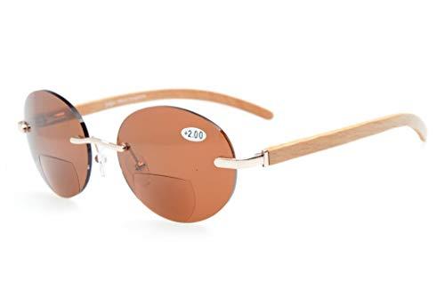 Eyekepper Spring Hinges Wood Arms Randloze ronde bifocale zonnebril goud/bruin lenzen +2.5
