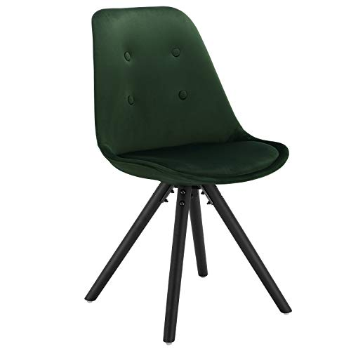 WOLTU BH196dgn-1 1 Stück Esszimmerstuhl, Sitzfläche aus Samt, Design Stuhl, Küchenstuhl, Holzgestell, Dunkelgrün