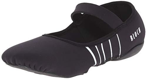 Bloch Women's Contour Rubber Front-Sole Pilates/Yoga/Barre Studio Athletic Shoe Dance, Black/White, 6 M US