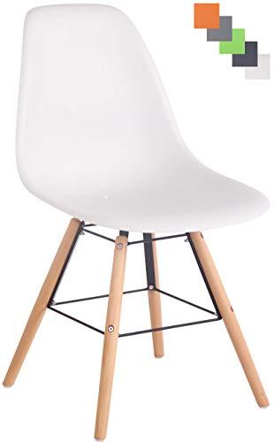 CLP Gartenstuhl Tippo Mit Kunststoff-Sitzschale I Kunststoffstuhl Mit Rückenlehne I Sitzhöhe Von 45 cm I Buchenholzgestell, Farbe:weiß, Gestell Farbe:Natura