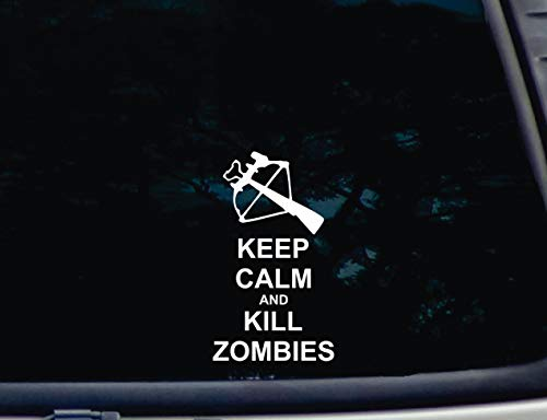 Lplpol Premium Anti-Staub Vinyl-Aufkleber/Aufkleber, Keep Calm and Kill Zombies Armbrust Vinyl-Autoaufkleber, Fenster-Aufkleber, Laptop Aufkleber 15,2 cm