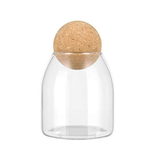 Bestonzonon - Tarro de cristal transparente con bola de corcho, bidón con tapa de madera en forma de bola, ideal para guardar té dulces y café de 500 ml