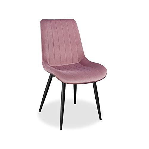 Loui Design Esszimmerstuhl mit schwarzen Beinen, Samt Bezug gepolstert, weiches Sitzkissen | Rosa | 1 STK.