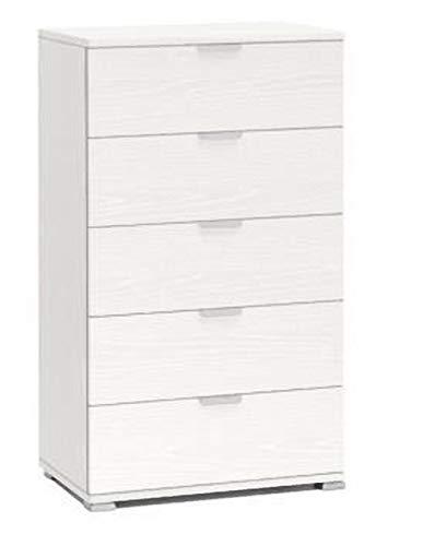 Klipick Cassettiera 5 cassetti. Dimensioni: Lunghezza cm 80 P. cm 38 H. cm 101. Colore Bianco Frassinato