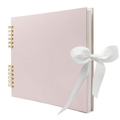 Never Ever Land Scrapbook-Album - 30 x 25 cm Fotoalbum mit 80 glatten 250-g/m²-Seiten - Stabiles Hardcover mit niedlicher Schleife - Perfekt für Baby-, Hochzeits- & Familienfotos – Rosa