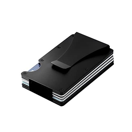 Ancocs Cartera Tarjetero Cartera Minimalista Hombre, Aluminum con Clip de Dinero metálico - NFC RFID Que bloquea el Monedero Delgado de Metal-Negro
