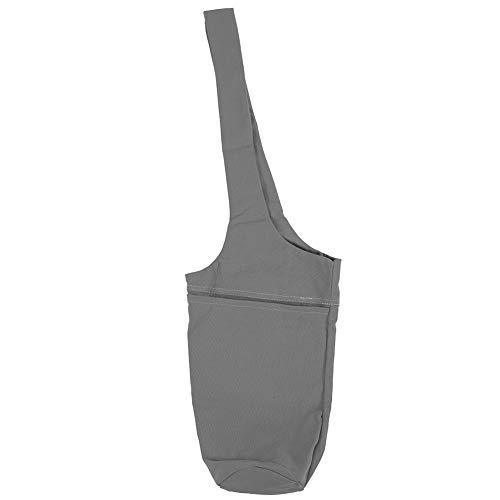 Yagosodee Bolsa de Almacenamiento Multifuncional de Lona para Esterilla de Yoga Portador de Deportes de Fitness con Correa Larga Gris