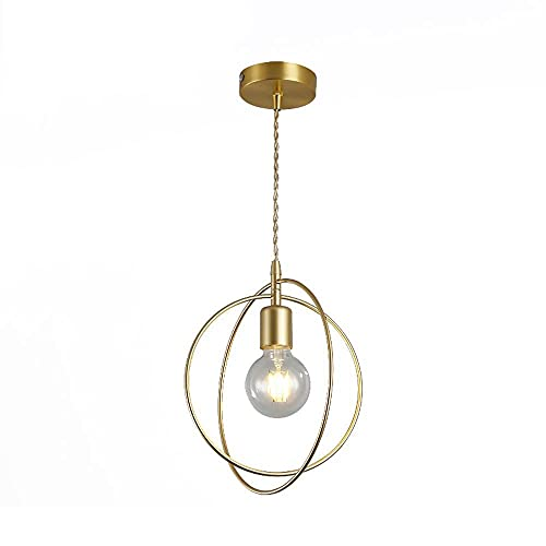 LIUDADA Moderna lámpara colgante dorada E27, altura regulable, redonda, de metal, para comedor, cocina, pasillo, dormitorio, 26 × 29 cm