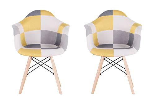 ArtDesign FR 2X Patchwork Sillón Tela de Lino Ocio Sala de Estar Sillas de Esquina Sillas de Recepción (Amarillo)