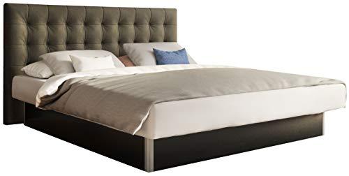 SuMa - Wasserbett dual 180x200 freistehend m. Sockel schwarz und Kopfteil Nuevo, Farbe anthrazit 180x200 cm