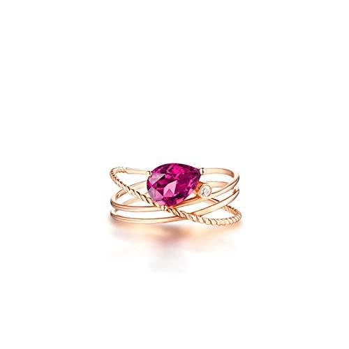 Aeici Anillo Oro rosa 18k, Anillos De Boda Oro Turmalina Diamante 1.8ct, Pera, Talla 8