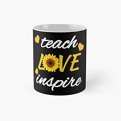 Teach Love Inspire Cute Sunflower Classic Mug   Best Gift Funny Coffee Mugs 11 Oz