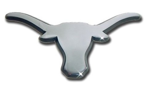 The University of Texas Longhorns Metal Auto Emblem (Chrome (Black Trim))