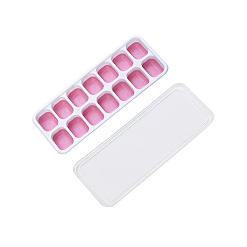 I vassoi del cubetto di ghiaccio si rilasciano il silicone e il creatore di cubetti di ghiaccio flessibile con coperchio rimovibile resistente allo sversamento (Color : Pink)
