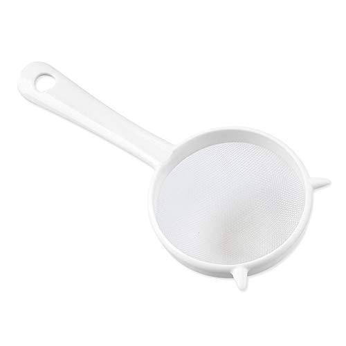 lamta1k Sieb, Küchensieb, Sieb, Kunststoff, für Tee-Blätter, Mehlsieb – weiß, klein