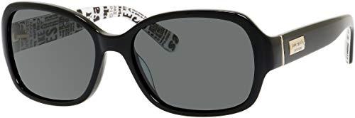 Kate Spade Akira/P/S 09KQ/RA 54M Black/Grey Polarized Pillow Sunglasses for Women+FREE Complimentary Eyewear Kit