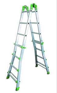 FARAONE 1 Escalera Telescópica Multiusos 10 Peldaños, Metálico, 140 x 64 x 20
