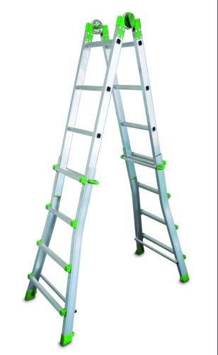 ESCALIBUR - Escalera Telescópica Multiusos 10 Peldaños, Metálico, 140 x 64 x 20