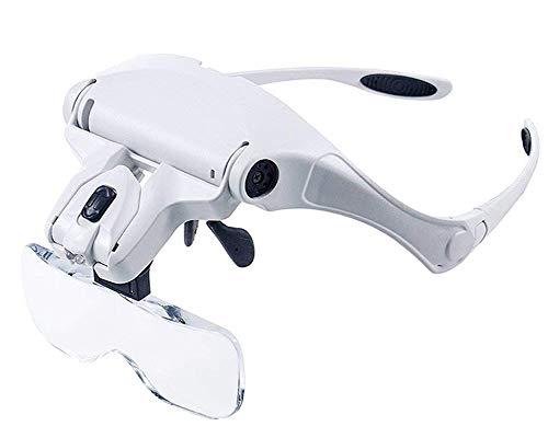 Alife Head Mount Magnifier with 2 Led Professional Visor Magnifying Glasses Jeweler's Loupe Light Bracket and Headband Interchangeable Lenses
