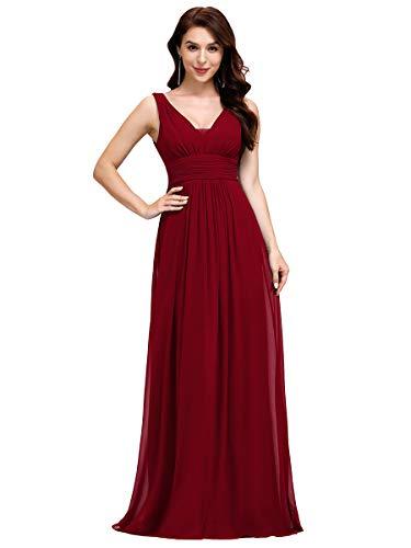 Ever-Pretty Damen Chiffon V-Ausschnitt Lang Abendkleider Abschlussball Kleider Größe 54 Burgundy