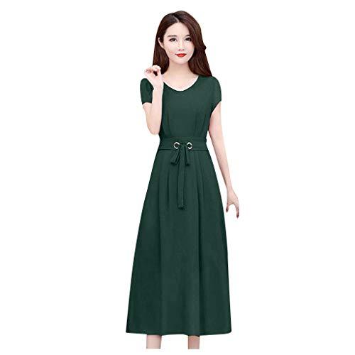 Longra avondjurk voor dames, elegant, slanke snit, eenkleurig, lange jurk met V-hals en korte mouwen, jurk van kant, zomerjurk