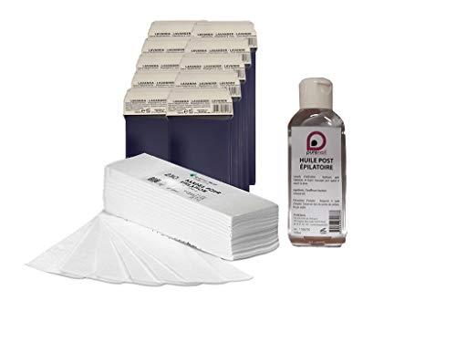 Kit EPILATION CONSOMMABLES avec 10 cartouches de cire à épiler 7 couleurs + 250 bandes d'épilation +1 Huile Post Épilatoire 100 ml BY PURENAIL (BLEU LAVANDE)