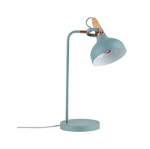 Paulmann 79651 Neordic Juna Tischleuchte max. 1x20W Tischlampe für E14 Lampen Nachttischlampe Softgrün/Kupfer 230V Metall/Holz ohne Leuchtmittel