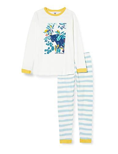 Petit Bateau 5602801 Pyjama, Motiv Panther, kleine Jungen an der Seite Gr. 12 Jahre, Marshmallow/Crystal