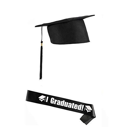 Un juego de gorra de graduación para despedidas de soltero con letras y bandas para regalos de fiesta de graduación