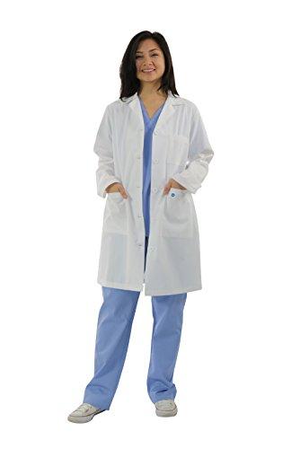 Spectrum 40' Antimicrobial Ladies Lab Coat, White, Medium